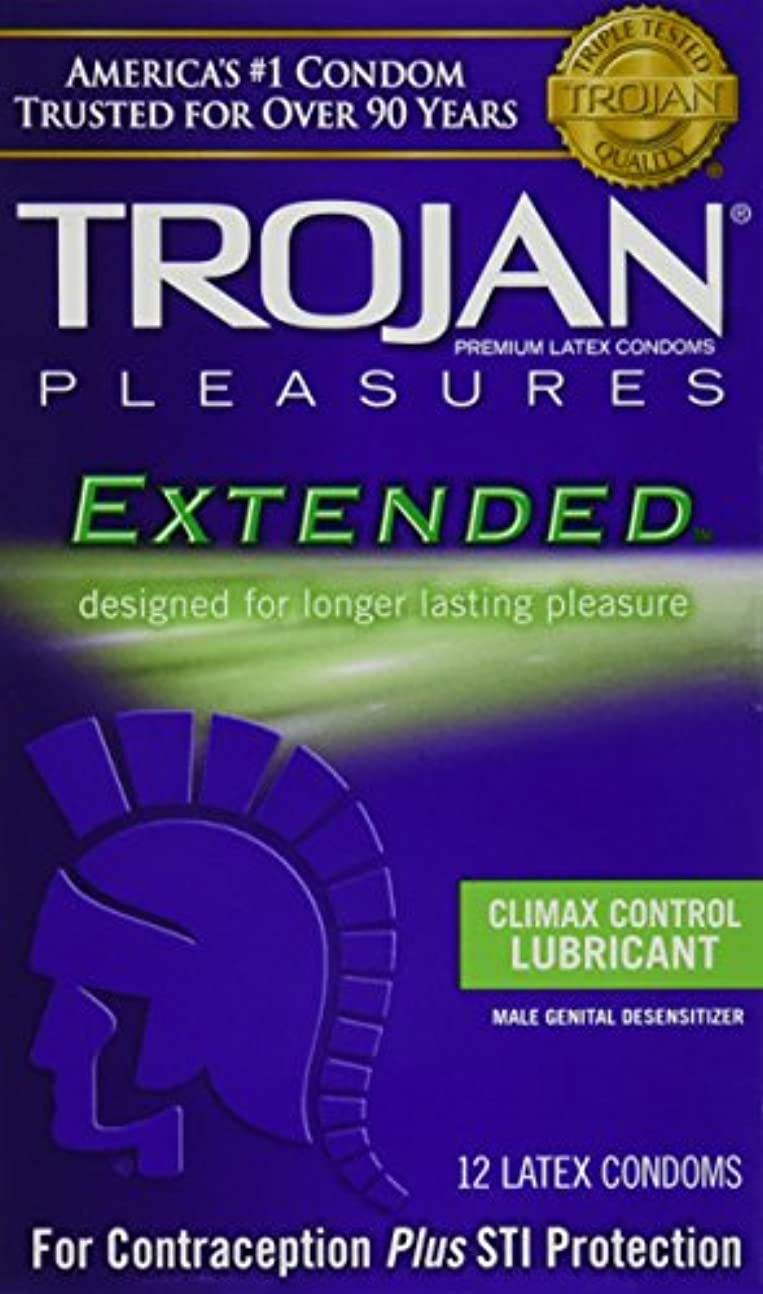 Trojan Pleasures Extended Pleasure Lubricated Latex Condoms-12 ct (Quantity of 3) by Trojan