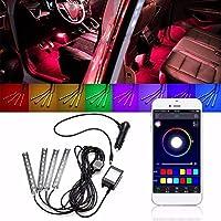 FidgetGear 1セット9 RGB車内装飾ライトストリップ電話APP制御