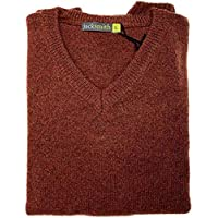 jacksmith Men's Shetland Wool V-Neck Cardigan Sweater Ragg Knitted Jumper Pullover (XXXXX-Large, Rust)