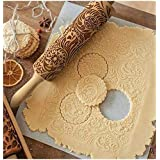 Embossed Rolling Pins for Christmas,3D Paisley Pattern Flower Snowflake rattan Wooden Roll Pin Laser Engraved Rolling Pin DIY