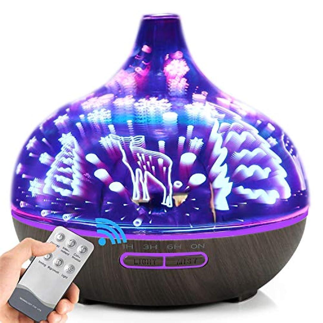 研磨剤パワーセル代名詞AXNYLHY Essential Oil Diffuser,400ml Aroma Diffuser 3D Colorful LED Night Light Glass humidifiers for Bedroom,Darkwoodgrain 141[並行輸入]