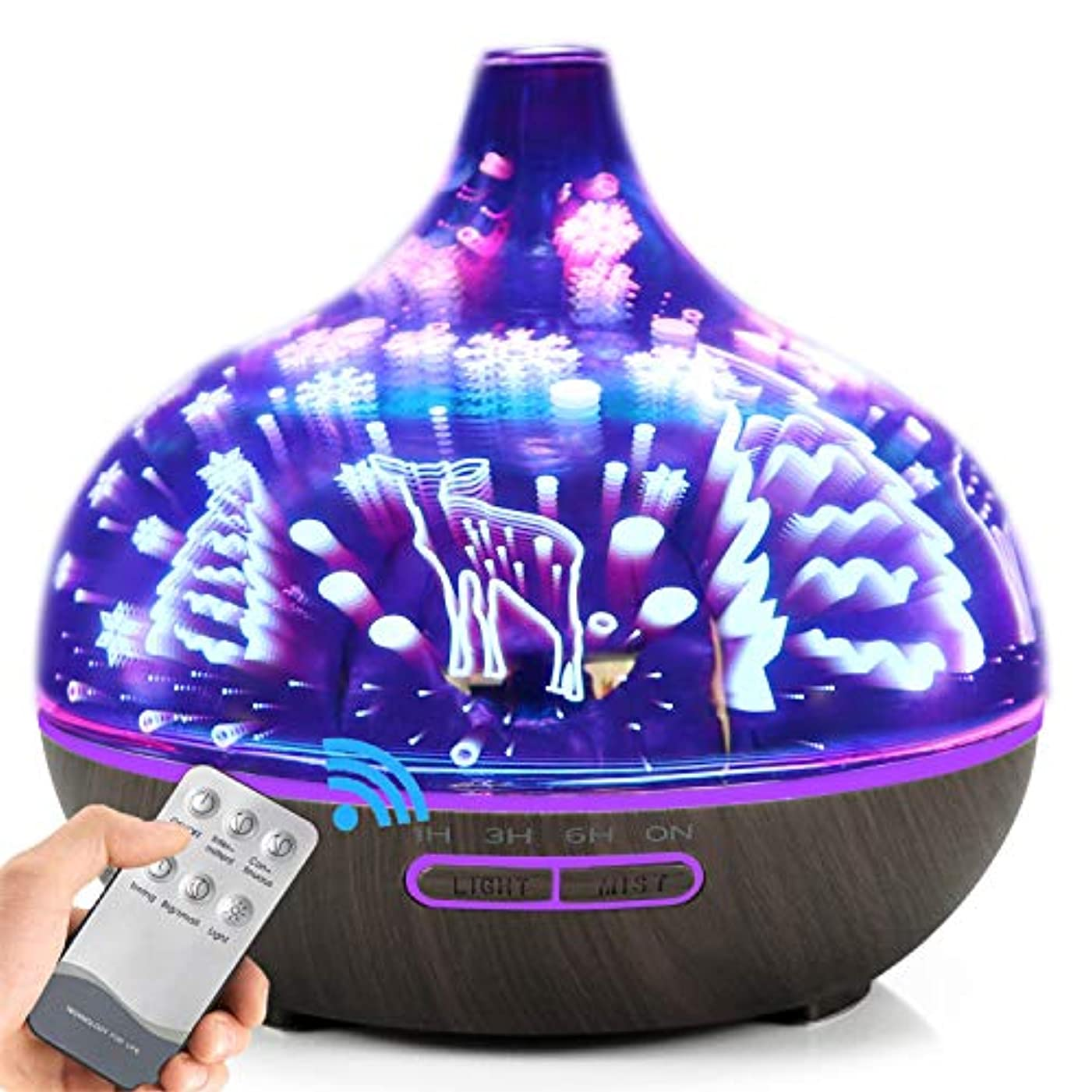 芸術懸念学校教育AXNYLHY Essential Oil Diffuser,400ml Aroma Diffuser 3D Colorful LED Night Light Glass humidifiers for Bedroom,...