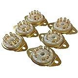 真空管 ソケット セラミック 9ピン 12ax7 12au7 (6個セット, ゴールド)