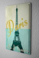 Tin Sign ブリキ看板 Globetrotter Eiffel Tower Paris Metal Plate