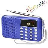 CSMARTE AM FMラジオ 超薄型ミニポケットラジオ 多機能 LEDライト Micro SD/TFカードに対応 (青い)