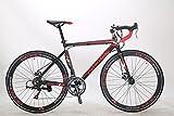 Kingttu XC760 自転車 ロードバイク シマノTZ 50 14 段変速 ロードバイク アルミフレーム700Cディスクブレーキ (赤いと黒い) [並行輸入品]