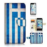 iPhone 6 6S (4.7') Flip Wallet Case Cover & Screen Protector Bundle! A20005 Greece Flag Vintage