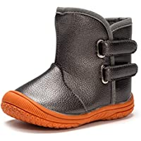 Enteer Baby Soft Rubber Sole Anti-Slip Warm Winter Prewalker Leather Toddler Boots
