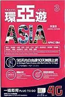 【3】アジア16ヵ国90日の期間フリープラン10日間 4G/3G データ通信 1GB/日 (FUP1GB/日->128kbps)プリペイド SIMカード