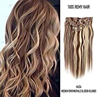 Fabwigs Clip In Human Hair Extensions 8Pcs 100g/Set 20 Clips Full Head Silky Straight Remy Human Hair (16inch#4/24 Medium Brown/Pale Gloden Blonde) [並行輸入品]