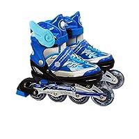 ZYH ローラースケートインラインスケートローラースケート子供用ローラースケート男の子と女の子ローラースケート調節可能な滑らかな靴安全なアウトドアスポーツ (Color : 青, サイズ : L)