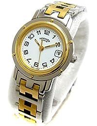 [エルメス]Hermes 腕時計 CL4.220 クリッパー コンビ 白文字盤 watch レディース 中古