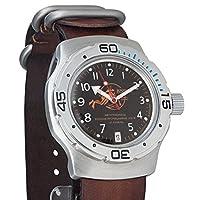 Vostok AmphibiaオレンジScuba Dudeロシア軍事腕時計WR 200Mレザーストラップ# 160380
