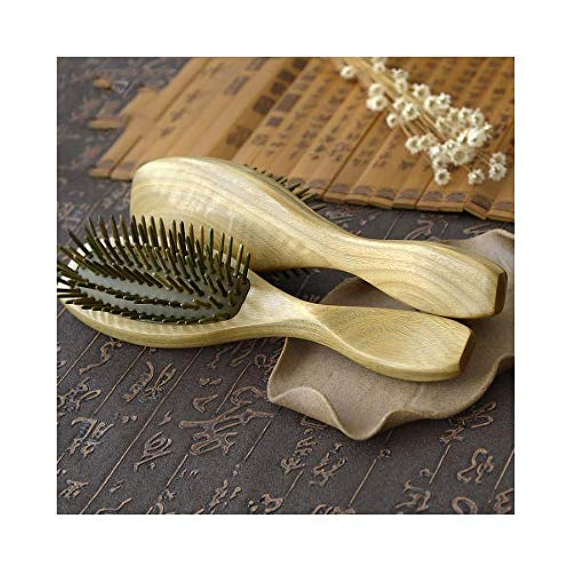 ズームインする木製逸脱ナチュラルグリーンサンダルウッドヘアブラシもつれ解除マッサージアンチスタティックヘアコーム ヘアケア