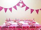 誕生日 バースデー テーブルクロス 飾り付け 飾り パーティー グッズ 大容量13点セット 6人分 テーブルクロス 三角ハット 紙コップ 紙皿 ストロー ピロピロ笛 紙ナプキン 三角バナー スプーン フォーク ナイフ (ピンク)