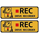 ハッピークロイツ カーステッカー ドライブレコーダー録画中 英語 黄 Sサイズ N03-S HZ2725