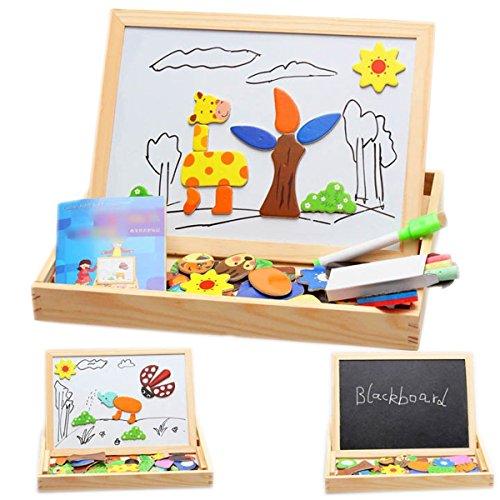 (ミネセンム)Minesam 幼児 木製おもちゃ カワイイ動物柄 知育玩具 画板とジグソパズル 両用...