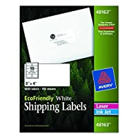 Avery White EcoFriendly Shipping Labels, 2 x 4 Inches, Box of 1000 (48163) [並行輸入品]