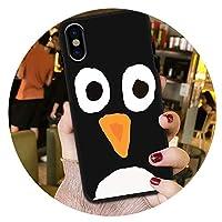 おしゃれ個性的な携帯ケースかわいいfor iPhone xsMAX携帯電話ケース6plusソフトケース8レディース7保護カバーxrメンズ,ブラックケースフルスクリーンペンギン,XS