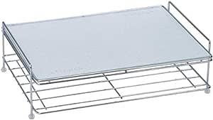 Belca レンジラック 強化ガラス製 レンジ上ラック 幅43×奥行31×高さ13.4㎝ KWR-RU