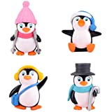 JeM 4pcs Cute Landscape Penguin Ornament, Penguin Garden Décor Figurine, Mini Figure Collection Playset, Penguin Cake Topper