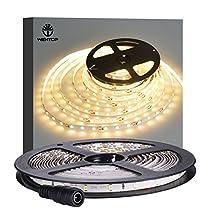 WenTop Ledストリップライト防水Ledテープライト12v SMD 3528 5M 300leds 60leds / mキッチン、クローゼット、ミラー、天井、屋内および屋外用の暖かい白い柔軟なテープライト - 電源なし