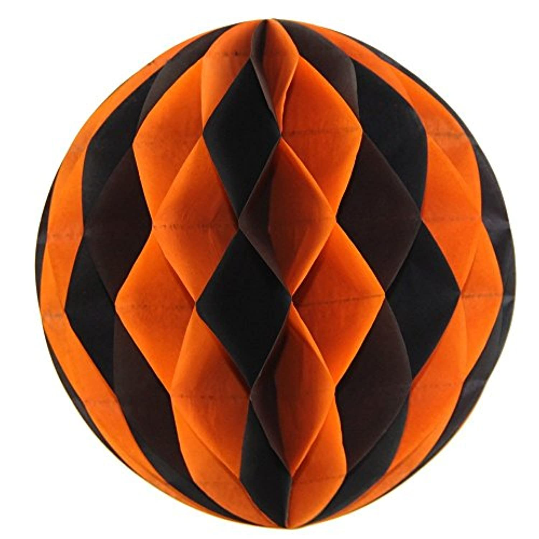 SUNBEAUTY 「5個セット」すぐ使える ハロウィン装飾 ハニカムボール インテリア パーティーの飾り付け (オレンジ)