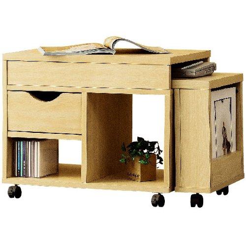 クロシオ ドロアーセンターテーブル ナチュラル色 幅70cm~幅120cmの伸縮式 省スペース ロータイプ デスク&テーブル