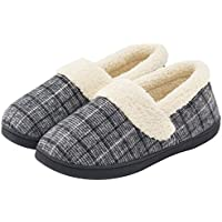 Cozy Niche Women's Woolen Fabric Plaid House Slippers, Anti-Slip Indoor / Outdoor Shoes