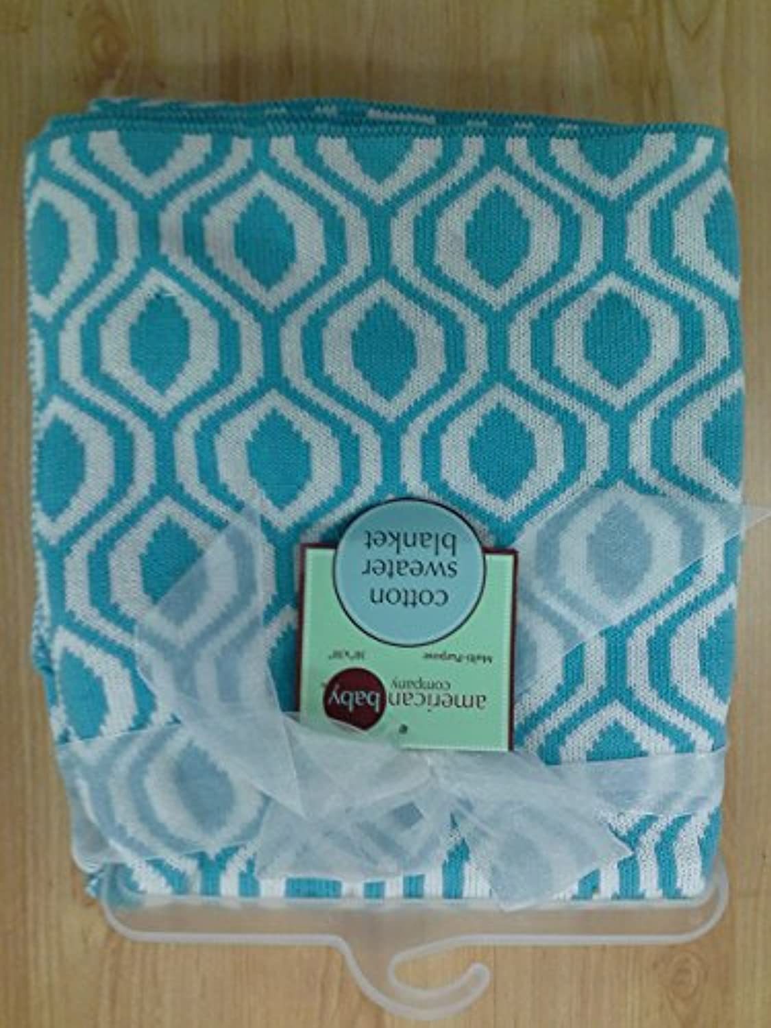 American Baby Company 100% Cotton Sweater Knit Blanket, Aqua Ogee by American Baby Company [並行輸入品]