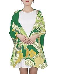 マキク(MAKIKU) ショール 大判 ストール レディース スカーフ シルク マフラー 春/夏/秋/冬 優しい肌触り 羽織り 薄手 90×180cm 和風 雲柄 緑 黄