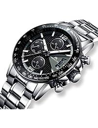 [メガリス]MEGALITH腕時計 メンズ時計ステンレススチール防水 クロノグラフウオッチ 多針アナログクオーツ腕時計金属 ルミナス夜光 日付表示 ラグジュアリー おしゃれ ビジネス カジュアル メタル男性腕時計 ブラック