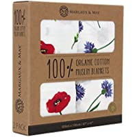 Organic Muslin Swaddle Blanket - Margaux & May - X Large Swaddling Blankets - Poppies & Corn Flowers by Margaux & May