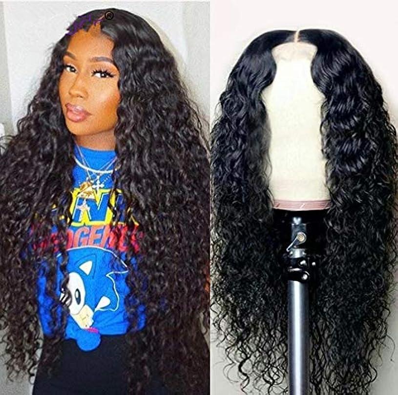 ケニアコンサート評論家女性のかつらフロントレース耐熱合成人工毛側部分の長い巻き毛のかつら150%密度