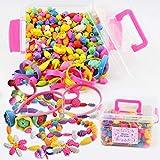 遊んで学ぶ 知育玩具 アクセサリー キット 【 POP BEADS ポップビーズ 】 女の子 おもちゃ 誕生日やクリスマスプレゼントにも最適(500PCS収納ケース付) (pink)