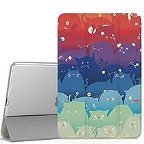 iPad Mini 4 ケース - ATiC Apple iPad Mini 4 (2015) 7.9 インチ iOS タブレット専用 半透明PC製 開閉式三つ折薄型スタンドケース 可愛猫 (iPad Mini 3/2/1に適応ない)