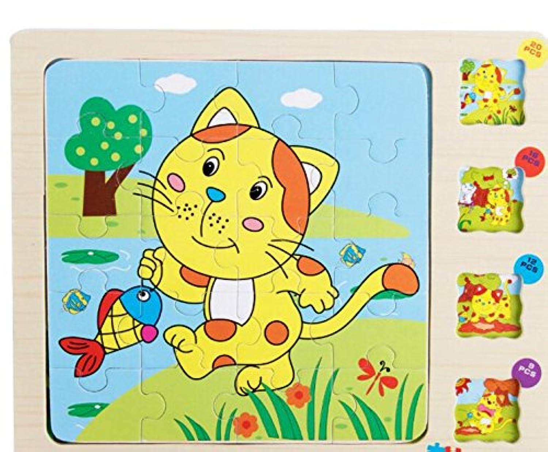 HuaQingPiJu-JP かわいい木の多層パズルアーリーラーニング番号の形の色の動物のおもちゃ子供のための素晴らしいギフト(猫)