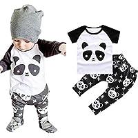 FEITONG Baby Toddler Boy Panda Shirt + Pants Kids Sets Outfit (18 Months, Black)