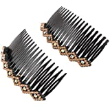2pcs Women Lady Plastic Bling Rhinestone Hair Comb Clip Slide Hairclip Gold Tone