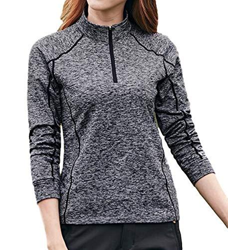 レディース トレッキング ウェア 吸汗 速乾 スポーツ 長袖 UV トレーニング ジョギング シャツ (XL (日本サイズL), ブラック)