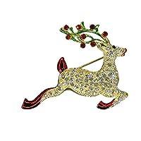 冬Jumping Rudolphトナカイ鹿クリスマスWildlifeハンドメイドwith Swarovski Crystals新しいVintage Inspiredギフトブローチピンp4804-g