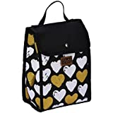 Polar Gear Paris Lunch Cooler Bag with Love Heart Pattern, Insulated Lunch/Snack Bags for Work or School, Food Safe PVC Lining, Easy to Clean
