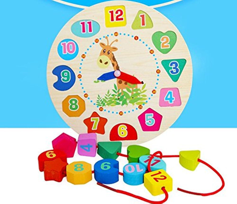HuaQingPiJu-JP 教育木製時計玩具アーリーラーニングタイムナンバーシェイプ子供のための色の動物の認知玩具