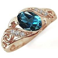 プレジュール ロンドンブルートパーズ 唐草リング K10ピンクゴールド オーバル 爪なし リング 指輪 リングサイズ10号