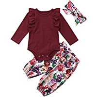 3PCS Clothes Set Newborn Toddler Baby Girl Romper Bodysuit Jumpsuit Floral Halen Pants Outfit Clothes