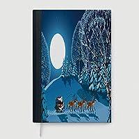 太いノート/日記、クリスマスの装飾、ノート、トナカイと雪の結晶 抽象ボールオーナメント ビンテージ ペーパー アート イメージ、96 罫線シート、B5/7.99x10.02 インチ A5,8.24x5.73 in マルチカラー