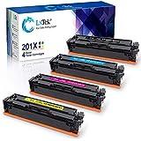 LxTek Compatible Toner Cartridge for HP 201X 201A CF400A CF400X Pro M252dw M277dw M277c6 Ink for HP Laserjet Pro MFP M277dw M252dw M277c6 M277n M252n Printer 4 Pack 201X (CF400X CF401X CF402X CF403X)
