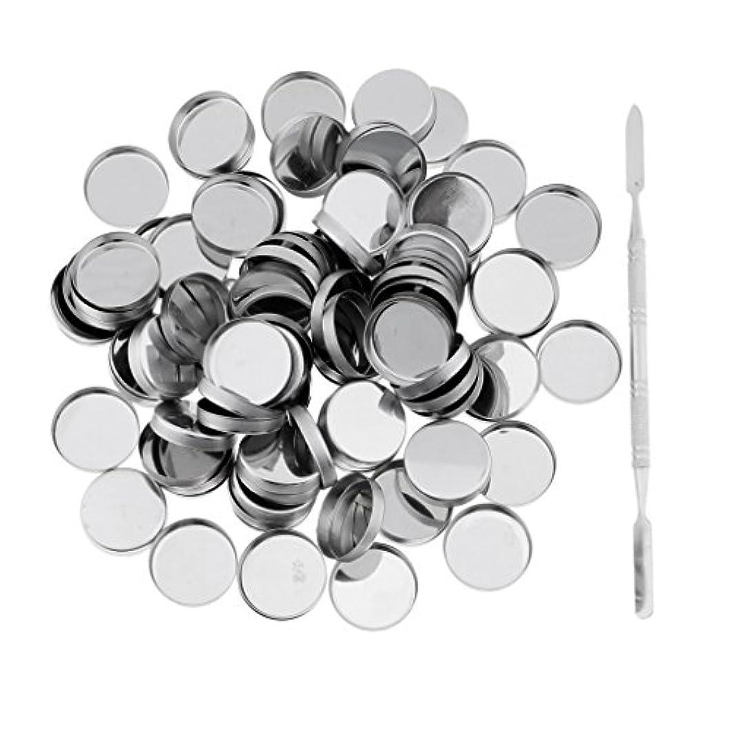 未亡人ムスタチオタフPerfk 約100個 メイクアップパン 空パン スティック 金属棒  DIYプレス アイシャドウ/ブラッシュ/パウダー/クリーム コスメ DIY 2タイプ選べる  - ラウンドパン