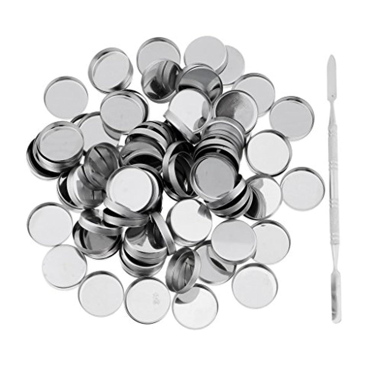 Perfk 約100個 メイクアップパン 空パン スティック 金属棒  DIYプレス アイシャドウ/ブラッシュ/パウダー/クリーム コスメ DIY 2タイプ選べる  - ラウンドパン