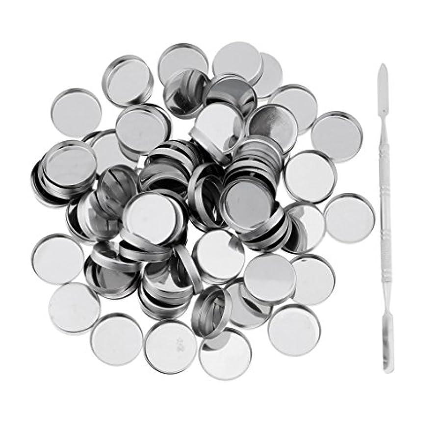 賠償パイル会計士Perfk 約100個 メイクアップパン 空パン スティック 金属棒  DIYプレス アイシャドウ/ブラッシュ/パウダー/クリーム コスメ DIY 2タイプ選べる  - ラウンドパン